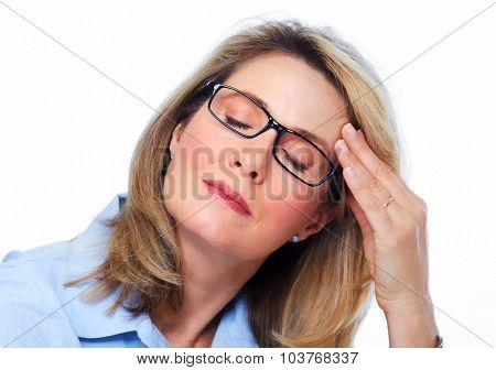 Elderly woman having a headache. Health care concept.