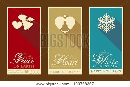 Set of 3 Christmas and Happy New Year banners with festive designs of Christmas tree, snowflake, angel and heart designs.