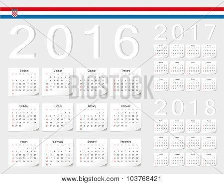 Set Of Croatian 2016, 2017, 2018 Vector Calendars