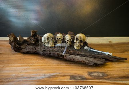 Still Life, Awesome Pile Of Skull Put On The Rod
