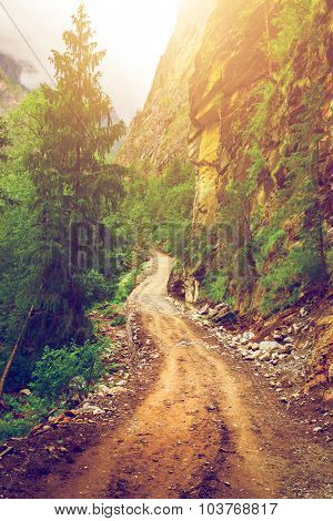 beautiful mountains landscape and road in Nepal, Annapurna trekking
