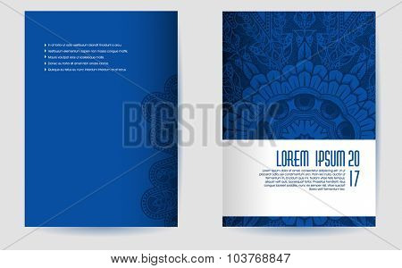 Brochure design template with circular pattern, eps10 vector