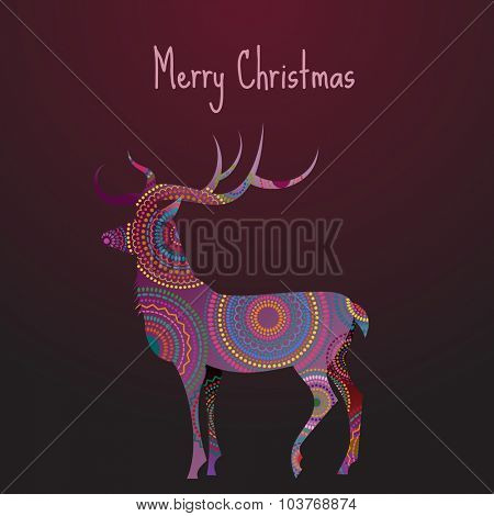 Merry Christmas greeting card with a deer, eps10 vector