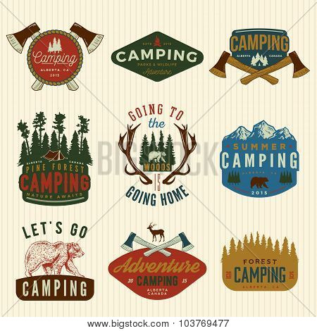 Vector Set Of Camping Vintage Badges, Emblems, Silhouettes And Design Elements