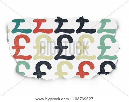 Currency concept: Pound icons on Torn Paper background