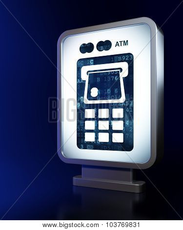 Currency concept: ATM Machine on billboard background