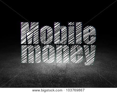 Money concept: Mobile Money in grunge dark room