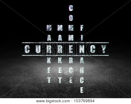 Money concept: Currency in Crossword Puzzle