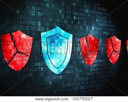 Protection concept: Shield on digital background