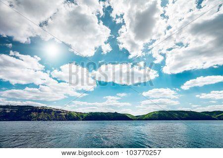 Beautiful river landscape. Dniester river in Bakota Ukraine in nice day