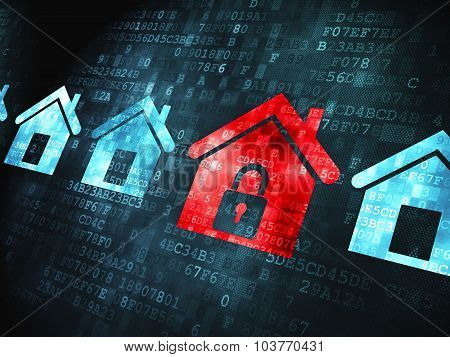 Privacy concept: Home on digital background