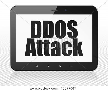 Safety concept: Tablet Pc Computer with DDOS Attack on display