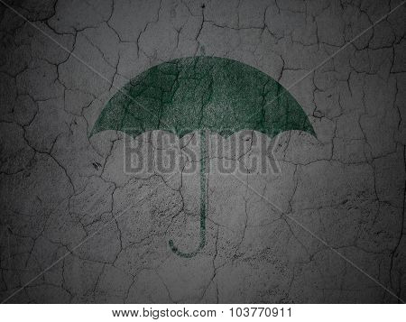 Security concept: Umbrella on grunge wall background