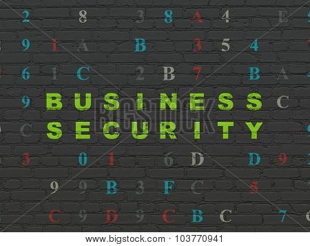 Safety concept: Business Security on wall background