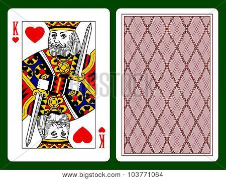 Playing card with a King of hearts and backside background. Vector illustration