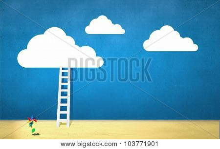 Conceptual image with ladder leading to white blank cloud