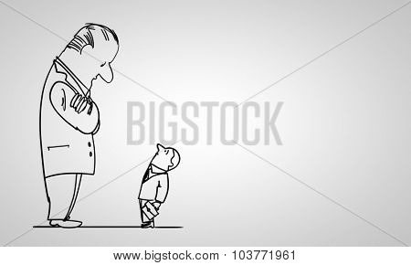 Caricature of funny businessmen on white background