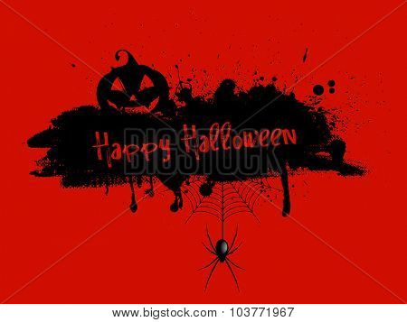 Grunge Halloween background with pumpkin and spider