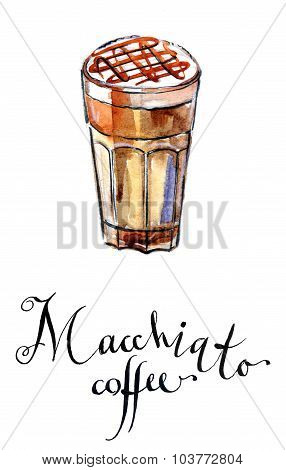 Coffee Latte Macchiato With Caramel In A Tall Glass