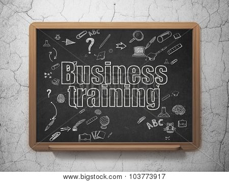Education concept: Business Training on School Board background