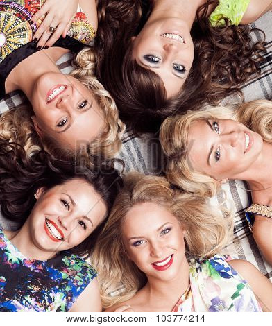 Group Of Cheerful Beautiful Woman. Bachelorette.