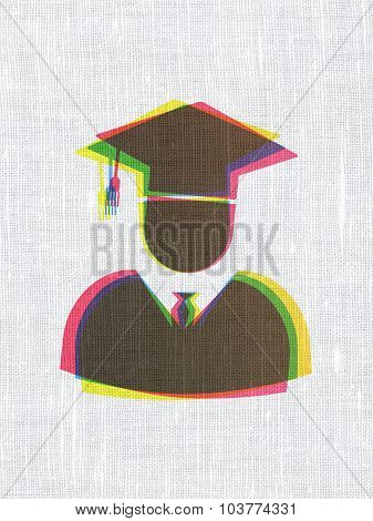 Studying concept: Student on fabric texture background