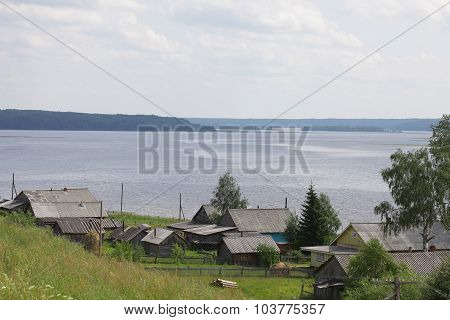 Village on the lake. North Russia
