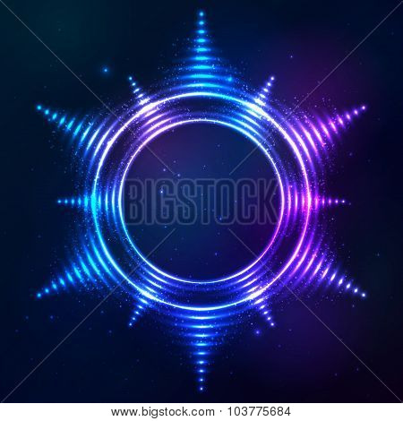 Bright shining blue neon sun frame at dark cosmic background