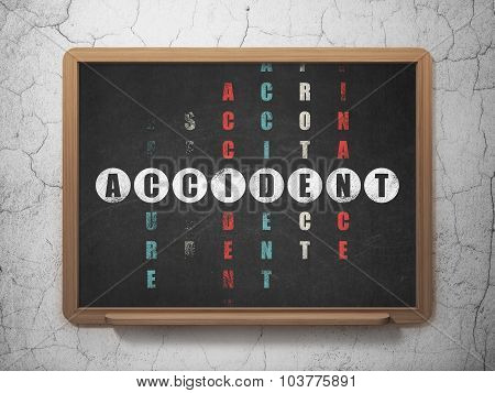Insurance concept: Accident in Crossword Puzzle