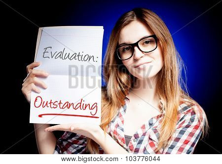Evaluation Outstanding, School Exam And Happy Proud Woman