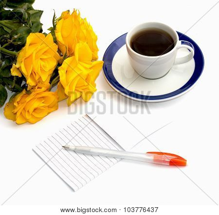 Still Life Cup Of Black Coffee, Notebook And Bouquet Of Yellow Roses