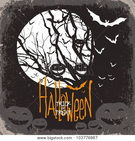 Halloween vector illustration. Dry tree, full moon and pumpkins and bats