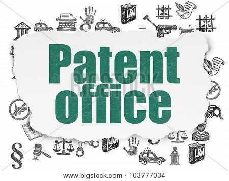 Law concept: Patent Office on Torn Paper background