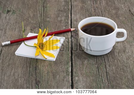 Still Life Cup Of Coffee, Paper, Pencil And Yellow Flower, Greeting Card