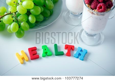 Health Word Made Up Of Letters With Magnets