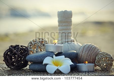 Beautiful spa composition outdoors