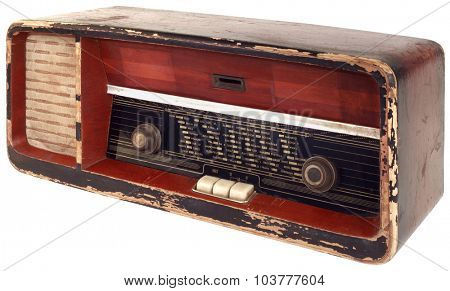 Old Radio Isolated with Clipping Path