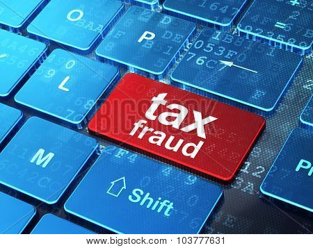 Law concept: Tax Fraud on computer keyboard background