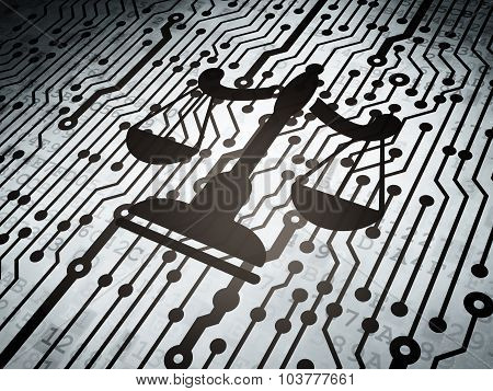 Law concept: circuit board with Scales