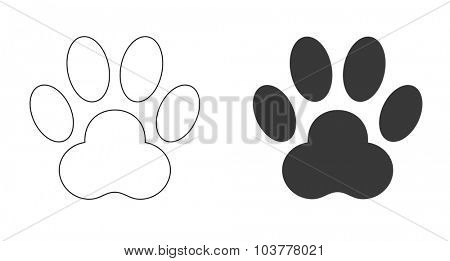 paw foot print icon black and white