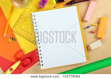 Office and student tools on light background closeup