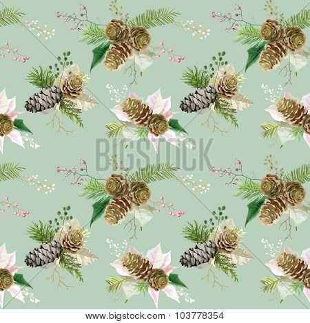 Vintage Christmas Background - Seamless Pattern - vector