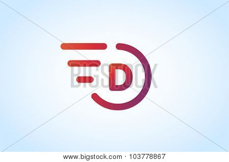 Fast line D letter logo monogram. D and lines monogram. Vector d line letter. D letter design. Abstract D letter. Motion lines d line symbol. Thin line style. Transport delivery D motion icon