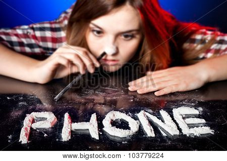 Woman Snorting Cocaine Or Amphetamines, Phone Addiction