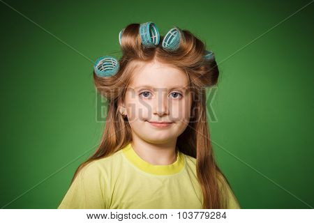 Little Girl Housewife On Green Background