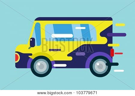 Vector cartoon car icon. Car cute simple flat style. Colorful car vector element. Fast drive colorful vector car. Transport car. Car isolated isolated. Car automobile. Car cartoon vector style. Car