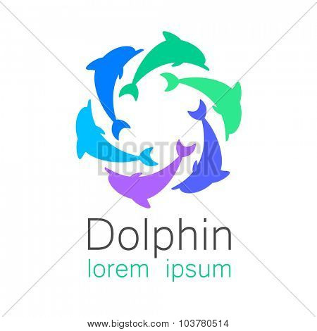 Dolphin. Design template for company logo. Corporate Identity.