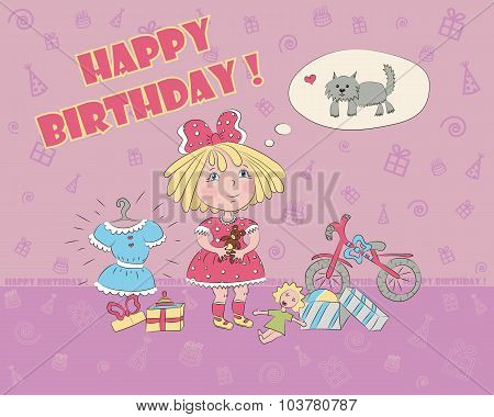 a little girl surrounded by toys dream about the dog birthday card, vector illustration