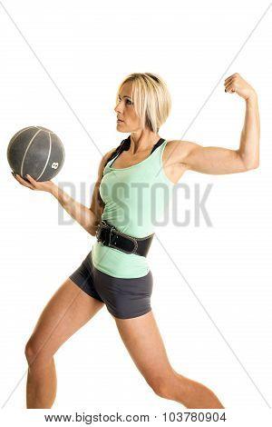 Woman Green Fitness Tank Top Hold Ball Flex
