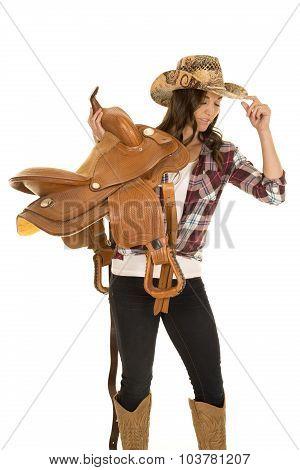 Cowgirl Plaid Shirt Hat Hold Saddle On Shoulder